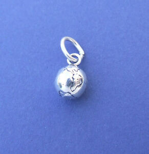 PLANET EARTH GLOBE SOLID 3D CHARM 925 STERLING SILVER