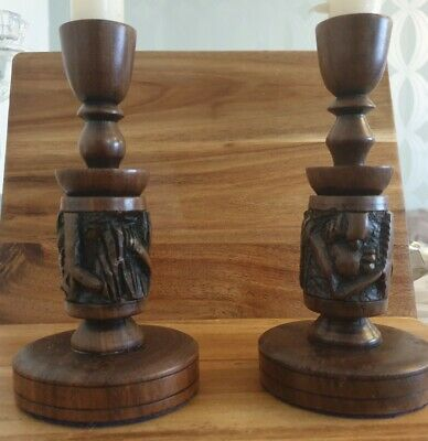 Pair Of Brown Wooden Candlestick Holders African Carving Vintage 17cms