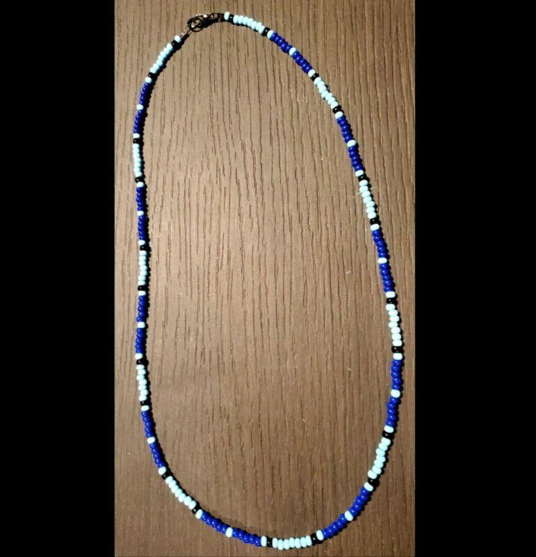 LE Jim Morrison Cobra Necklace The Doors Replica HANDMADE Glass Beads Baby Blue
