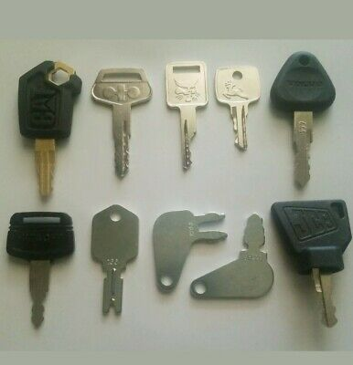 Heavy Equipment Key 10 Keys Cat Komatsu Case Bobcat Jcb Hitachi Jd Volvo Logo