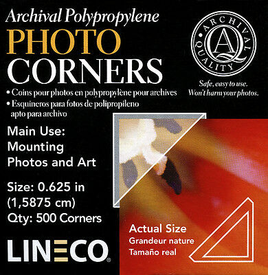 Lineco Acid Free Corners 500 pcs., Size: .625 in. Mount photos EZ  (bin803-A)