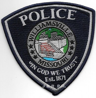 """Williamsville, MO - 1871 (4.5"""" x 4.5"""" size) shoulder police patch (fire)"""