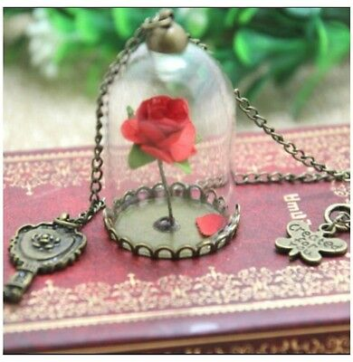 Beauty and the beast Necklace, Rose Charm
