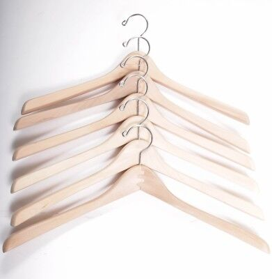 Lot Of 6 18 Thick Contoured Wooden Hangers W Chrome Hooks