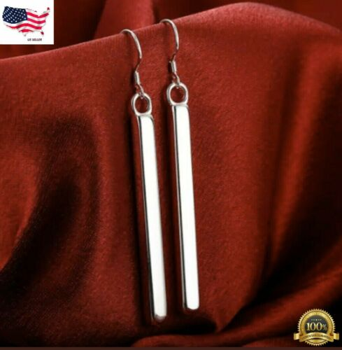 Women's 925 Sterling Silver Vertical Solid Bar Drop Dangle Hook Earrings