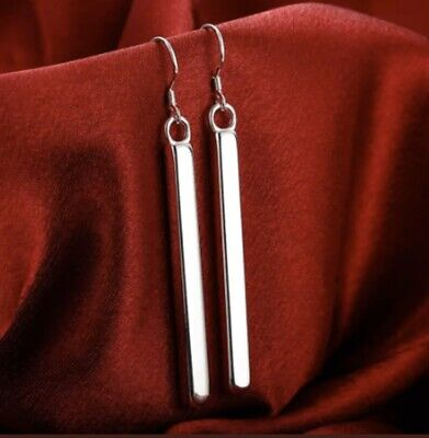 Woman's 925 Sterling Silver Vertical Solid Bar Drop Dangle Fashion Hook Earrings