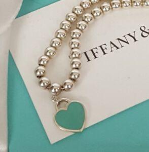 Tiffany Co Return To Bead Ball Bracelet Blue Enamel Mini Heart Tag Pouch