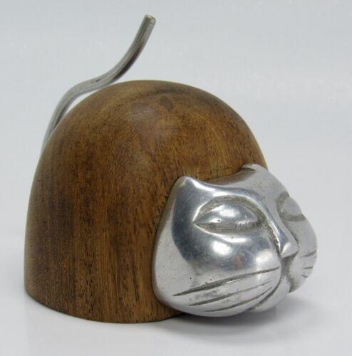 Unique Mid Century Modern Wood & Metal Kitty Cat Figurine