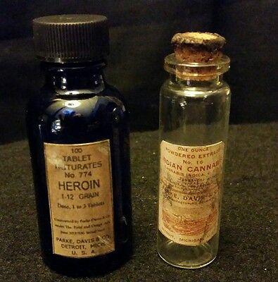 2..Vintage Style = 1...Cannabis.. 1...Heroin  Medicine Bottles..By Artist
