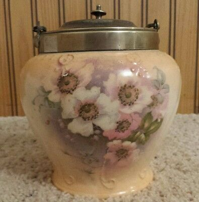 Antique Biscuit/Cracker Jar Floral Porcelain w/ EPNS Handle & Lid England