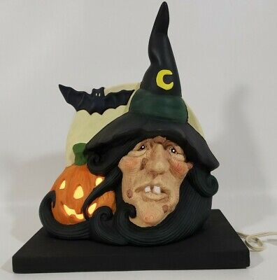 Vintage Halloween Ceramic Hand Painted Witch Jack O'Lantern Pumpkin Moon Rare