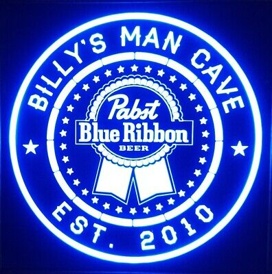 Custom Pabst Blue Ribbon Beer LED Sign Personalized, Home bar  Sign 12x12