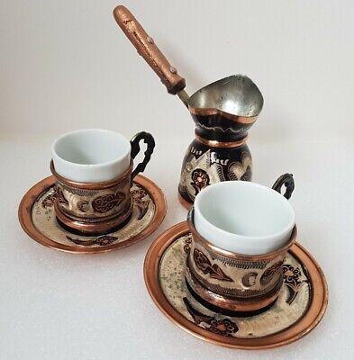 Copper Turkish Greek Arabic Coffee Espresso Pot, Cups & Saucers