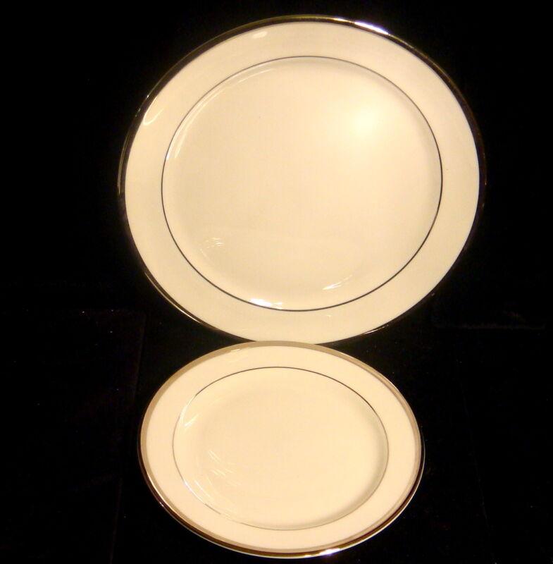 "Pickard China - Bracelet Pattern - Platinum Trim -Salad 8 1/4"" & Bread 6"" Plates"