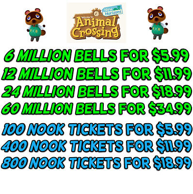 Animal Crossing New Horizons Bells, Nook Tickets, Fish Bait - 2 Minute Delivery