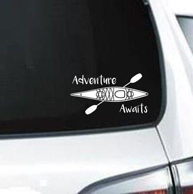 - H169 Adventure Awaits Kayak River Lake Kayaking vinyl decal car sticker