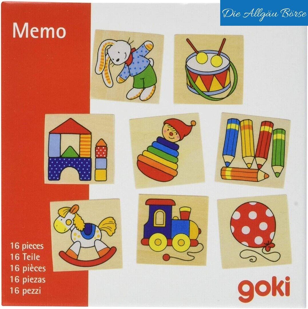 Goki 56697 Memospiel Memory 16 Teile Lernspielzeug Spielzeug Holz Neu OVP