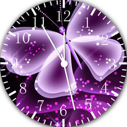 Purple Butterfly Frameless Borderless Wall Clock For Gifts or Home Decor E143