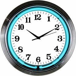 Chrome Teal Water Blue Room Wall Decor Neon Light 15 Inches Neon Clock