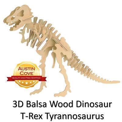 T-Rex Dinosaur Balsa Wood 3D Puzzle - Tyrannosaurus T Rex Model - New
