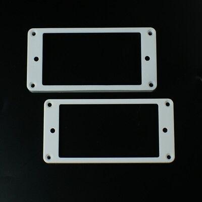 Set of 2 Humbucker Pickup Mounting Rings bridge/neck ,Flat bottom White ()