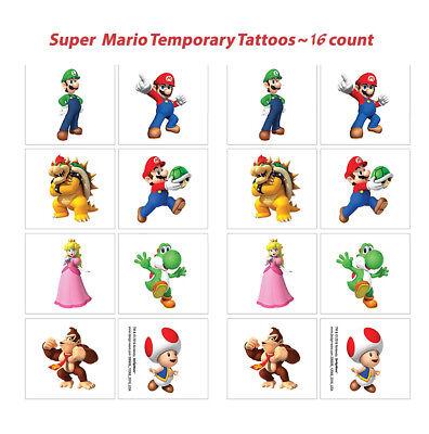 Super Mario Temporary Tattoos Birthday Party Favors Supplies Wii  Nintendo ~ - Super Mario Birthday Party