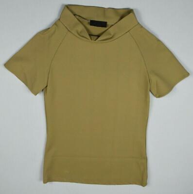 Jo No Fui Women's Heavy Twill Short Sleeve Mock Neck T Shirt Size 44