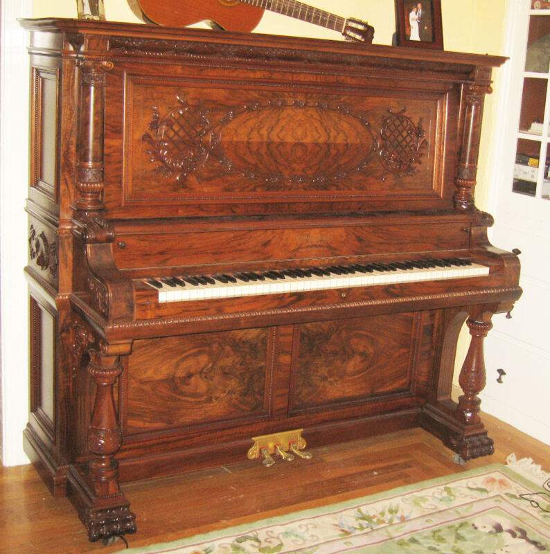 B. Shoninger Burl Walnut wood music box jukebox player piano digital pneumatic