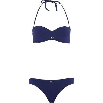 EMPORIO ARMANI Midnight Blue Textured Bikini - Size L New