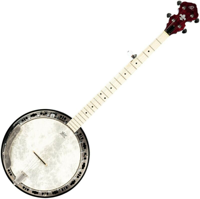 Ortega Falcon Series 5 String Quilted Maple Banjo Model OBJE400TFR Flame Red