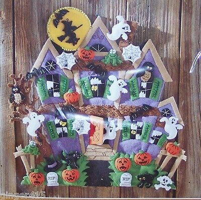 Bucilla ~HAUNTED HOUSE~ Felt Halloween Wall Hanging Kit~Ghosts Cat Witch - Halloween Felt Craft Kits