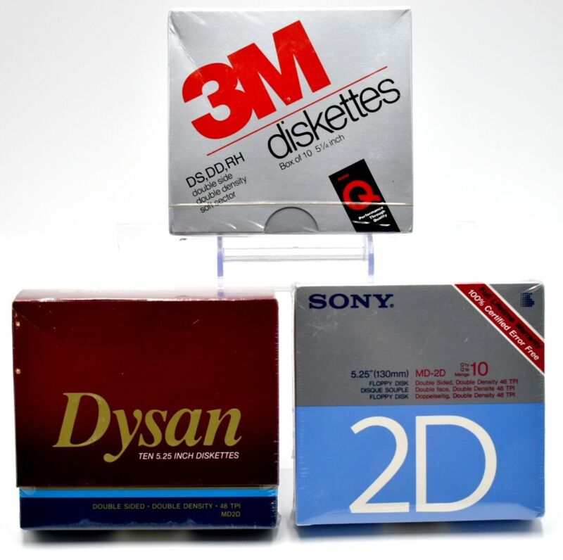 "Lot of 30 5.25"" Floppy Disk Diskettes DS/HD DD 3M Sony Dysan New NOS Sealed"