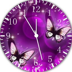 Purple Butterfly Frameless Borderless Wall Clock For Gifts or Home Decor E25