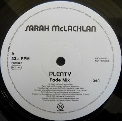 Sarah McLachlan Plenty (Fade Mix)/ Fear (Hybrid's Super Collider Mix) Uk (Sarah Mclachlan Fear Hybrids Super Collider Mix)