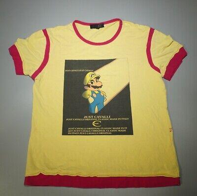 VTG JUST CAVALLI Women's XL Graphic Print Shirt Super Mario Italy