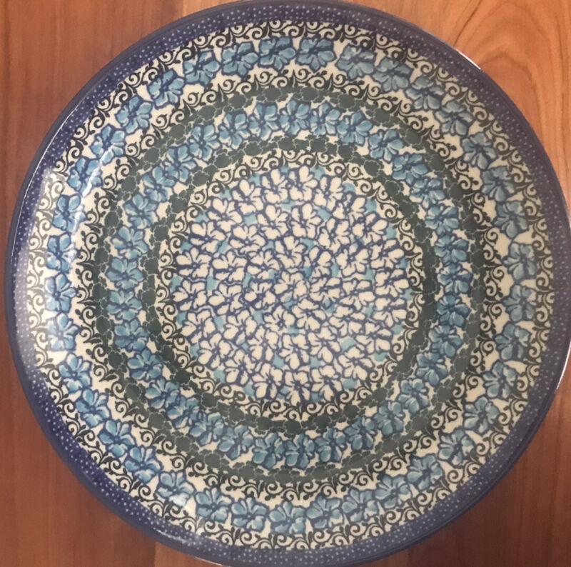 C.A. Ceramika Artystyczna Polish Pottery Dinner Plate Aqua Black