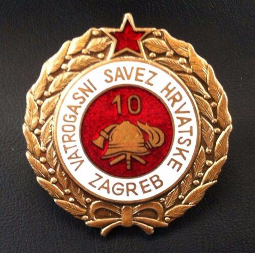 Very rare medal Croatia badge 10 year serviceFirefighting  medal Yugoslavia SFRJ