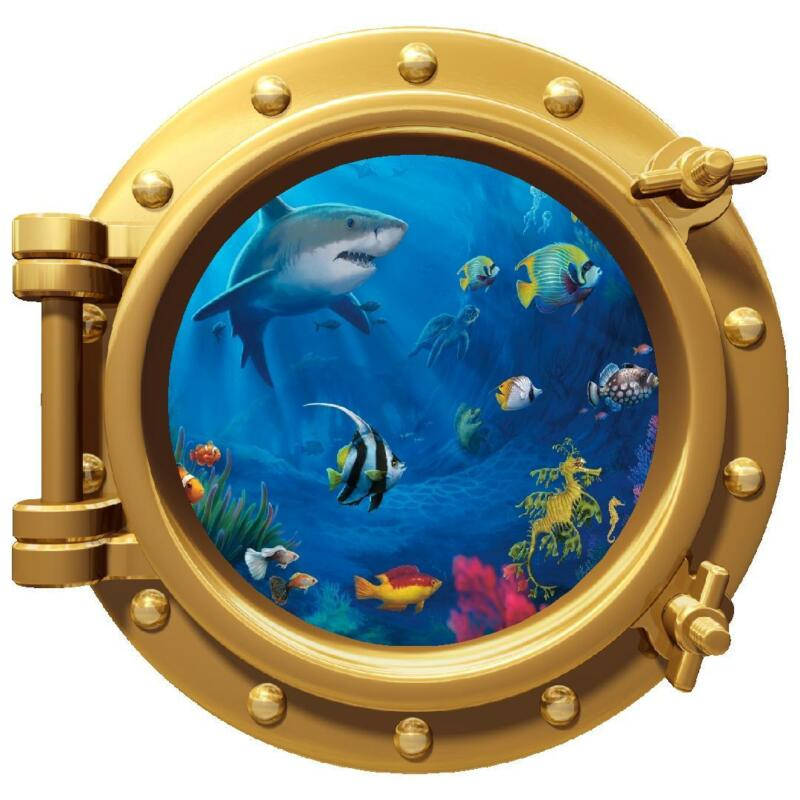 "12"" PortScape Sea Window Ocean Life #1 Porthole Wall Decal Graphic Art Sticker"
