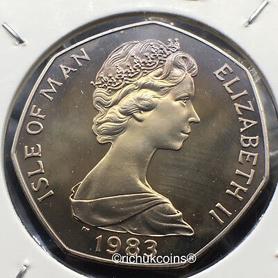 1983 IOM Xmas 50p Diamond Finish Coin with BB die marks