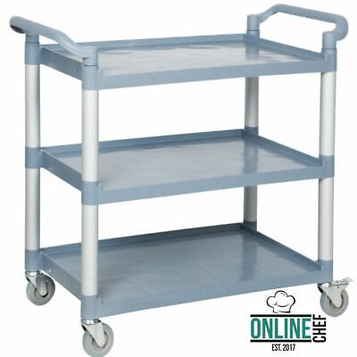 Gray Plastic 3 Shelf Heavy Duty Restaurant Utility Bussing Cart With Casters