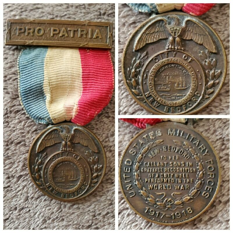 WWI U.S. Medal & Ribbon ~ Pro Patria ~ City of New Bedford RARE hard to find