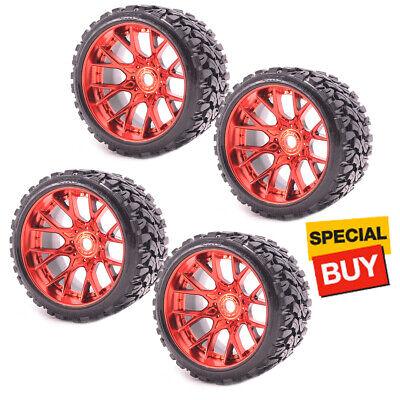 Sweep Racing SRC Monster Truck Terrain Crusher Belted Tire Red Wheel (4Pcs) Set