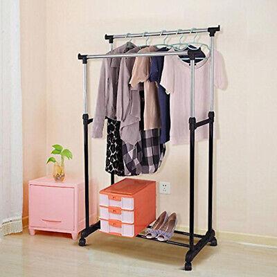 Kleiderständer Garderobenständer Wäscheständer Kleiderstange auf Rollen 2Stangen