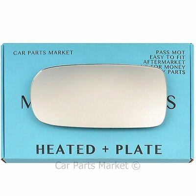 Left Passenger side Flat Wing door mirror glass for Jaguar XK 96-05 heat + plate