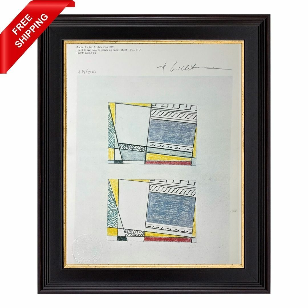 Roy Lichtenstein Original Signed Print With COA - Studies For Two Abstractions - $45.00