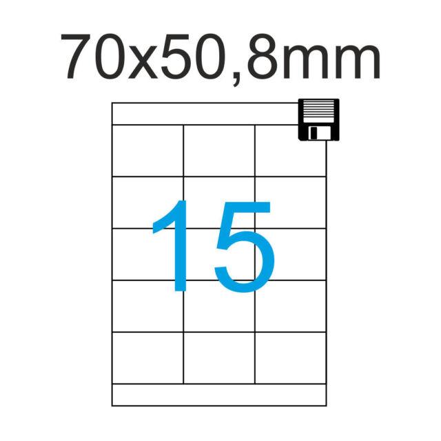 Etiketten 70x50,8 mm 375 Stück 25 Blatt A4 Klebepapier 70 x 50 Luma