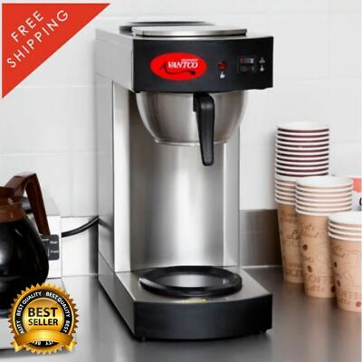12 Cup Electric Pourover Commercial Coffee Maker With 2 Decanters 1000 Filters