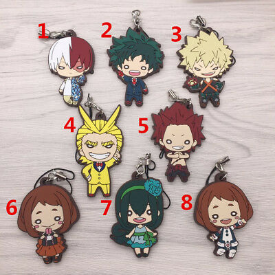 Anime Boku no Hero Academia BAKUGO TODOROKI rubber Keychain Key Ring straps
