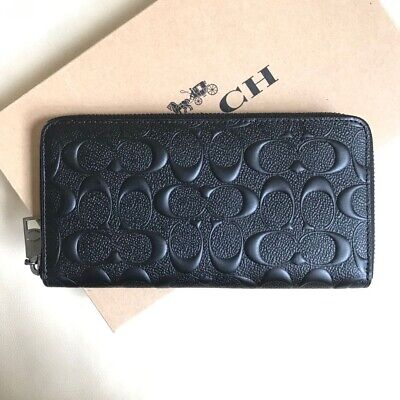 New Coach Signature Black Embossed Leather Accordion Zip Around Wallet F58113