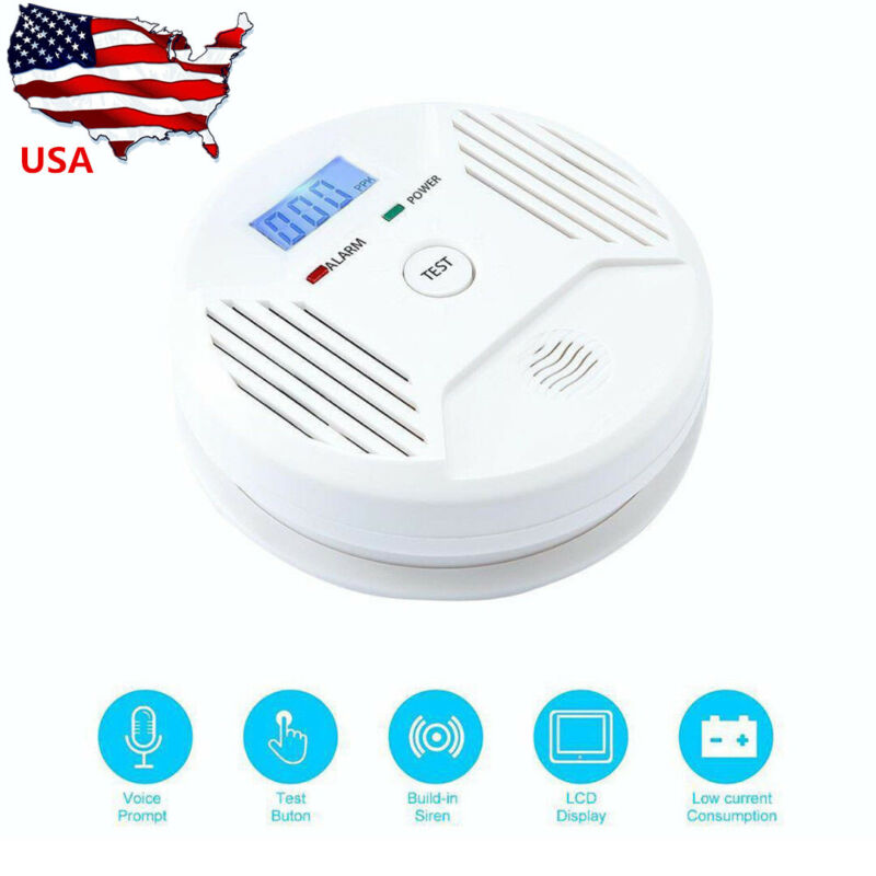 LCD Carbon Monoxide Alarm Battery Operated CO Detector Home